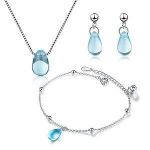 [Set of  3] 925 Sterling Silver Crystal Water Drop